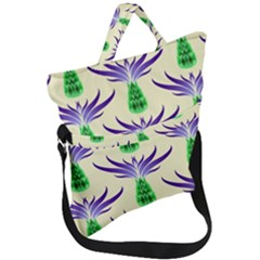 Thistles Purple Flora Flowering Fold Over Handle Tote Bag by Vaneshart