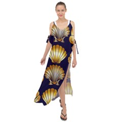 Snails See Shells Golden Maxi Chiffon Cover Up Dress
