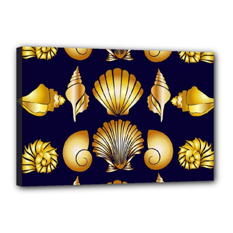 Snails See Shells Golden Canvas 18  X 12  (stretched)