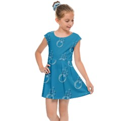 Bubble Group Pattern Abstract Kids  Cap Sleeve Dress