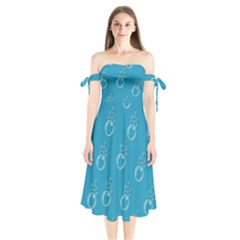 Bubble Group Pattern Abstract Shoulder Tie Bardot Midi Dress