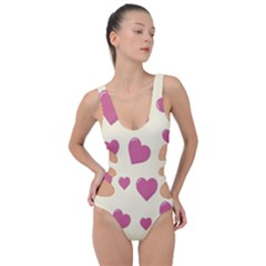 Flat Love Symbol Pattern Side Cut Out Swimsuit by Vaneshart