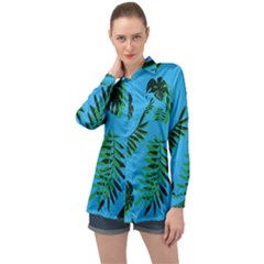 Tropical Leaves Nature Long Sleeve Satin Shirt