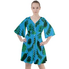 Tropical Leaves Nature Boho Button Up Dress