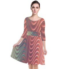 Texture Digital Painting Digital Art Quarter Sleeve Waist Band Dress