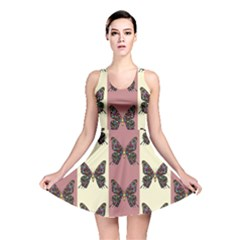 Butterflies Pink Old Old Texture Reversible Skater Dress