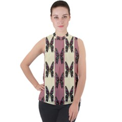 Butterflies Pink Old Old Texture Mock Neck Chiffon Sleeveless Top