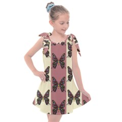 Butterflies Pink Old Old Texture Kids  Tie Up Tunic Dress