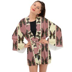 Butterflies Pink Old Old Texture Long Sleeve Kimono