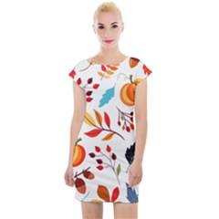 Pattern Pumpkins Autumn Cap Sleeve Bodycon Dress