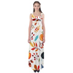Pattern Pumpkins Autumn Empire Waist Maxi Dress