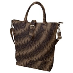 Texture Butterfly Skin Waves Buckle Top Tote Bag