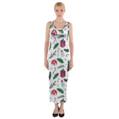 Christmas Background Fitted Maxi Dress by Vaneshart