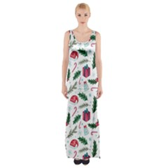 Christmas Background Thigh Split Maxi Dress