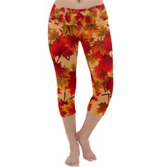 Wallpaper Background Autumn Fall Capri Yoga Leggings by Vaneshart
