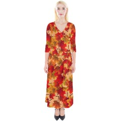 Wallpaper Background Autumn Fall Quarter Sleeve Wrap Maxi Dress by Vaneshart