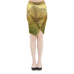 Leaves Design Pattern Nature Midi Wrap Pencil Skirt