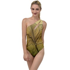Leaves Design Pattern Nature To One Side Swimsuit