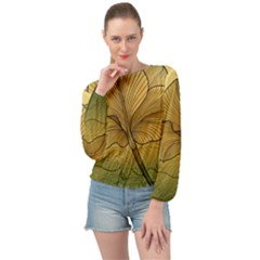 Leaves Design Pattern Nature Banded Bottom Chiffon Top