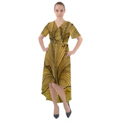 Leaves Design Pattern Nature Front Wrap High Low Dress