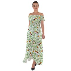 Pine Cone Pattern Autumn Off Shoulder Open Front Chiffon Dress