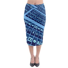 Apps Social Media Networks Internet Midi Pencil Skirt by Vaneshart