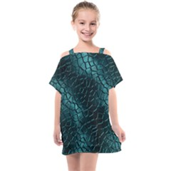 Texture Glass Network Glass Blue Kids  One Piece Chiffon Dress