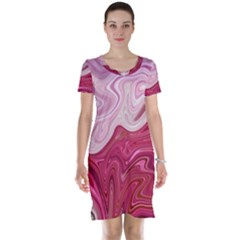 Liquid Marble Trending Abstract Paint Short Sleeve Nightdress by Vaneshart