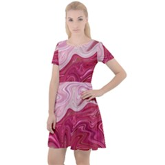 Liquid Marble Trending Abstract Paint Cap Sleeve Velour Dress