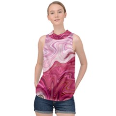 Liquid Marble Trending Abstract Paint High Neck Satin Top