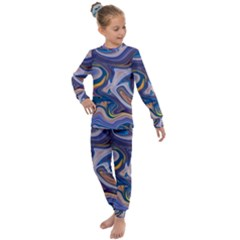 Liquid Marble Background Kids  Long Sleeve Set  by Vaneshart