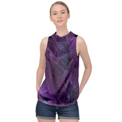 Abstract Form Pattern Texture High Neck Satin Top