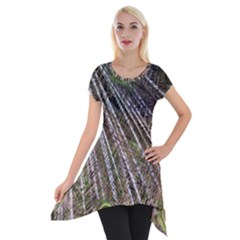 Peacock Feathers Pattern Colorful Short Sleeve Side Drop Tunic