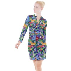 Animated Safari Animals Background Button Long Sleeve Dress