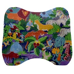 Animated Safari Animals Background Velour Head Support Cushion