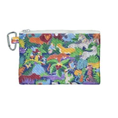 Animated Safari Animals Background Canvas Cosmetic Bag (medium)