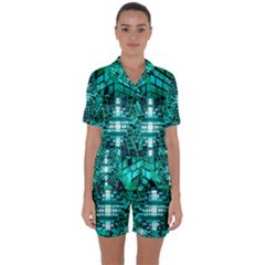 Texture Building Structure Pattern Satin Short Sleeve Pyjamas Set