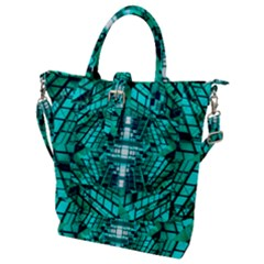 Texture Building Structure Pattern Buckle Top Tote Bag