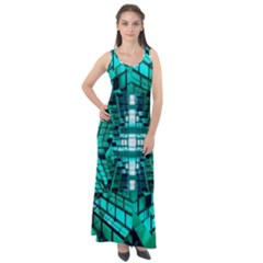 Texture Building Structure Pattern Sleeveless Velour Maxi Dress