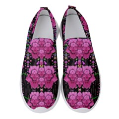 In The Dark Is Rain And Fantasy Flowers Decorative Women s Slip On Sneakers by pepitasart