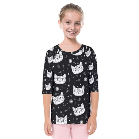 Gothic Cat Kids  Quarter Sleeve Raglan Tee by Valentinaart