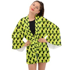 Black Rose Yellow Long Sleeve Kimono