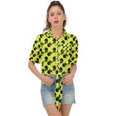 Black Rose Yellow Tie Front Shirt  by snowwhitegirl