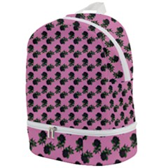 Black Rose Light Pink Zip Bottom Backpack
