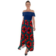 Red Flower  Off Shoulder Open Front Chiffon Dress by VeataAtticus