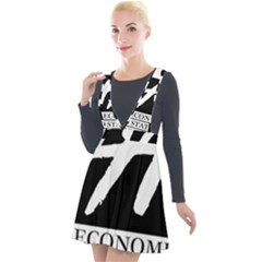 Logo Of Economics And Statistics Administration Plunge Pinafore Velour Dress