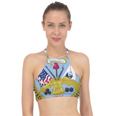 Emblem Of The United States Department Of The Army Racer Front Bikini Top