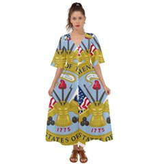 Emblem Of The United States Department Of The Army Kimono Sleeve Boho Dress