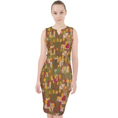 Earths And Yellow Design Midi Bodycon Dress