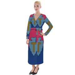 Flag Of United States Army 36th Infantry Division Velvet Maxi Wrap Dress